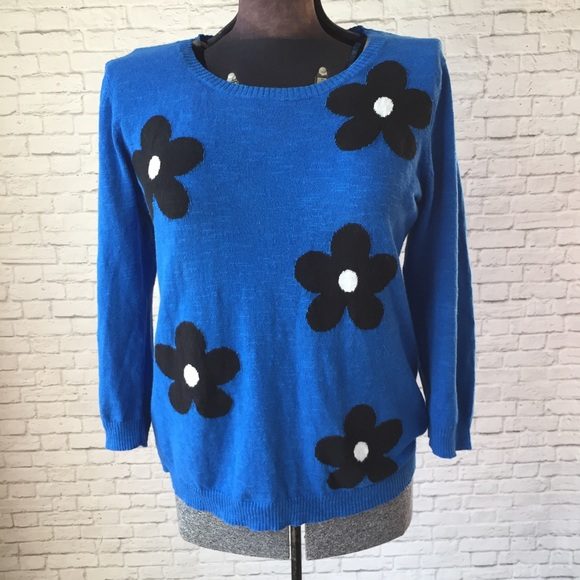 Cable & Gauge Sweaters | Cable And Gauge Flower Power Blue Large ...